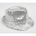 Silver Sequins Bling Bling Party Funky Gothic Jazz Dance Dress Bowler Hat