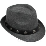 Grey Skulls Punk Rock Woolen Funky Gothic Jazz Dance Dress Bowler Hat