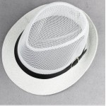 White Net Summer Straw Knitted Woven Jazz Dance Dress Bowler Hat