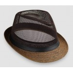 Brown Net Summer Straw Knitted Woven Jazz Dance Dress Bowler Hat