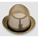 Khaki Net Summer Straw Knitted Woven Jazz Dance Dress Bowler Hat