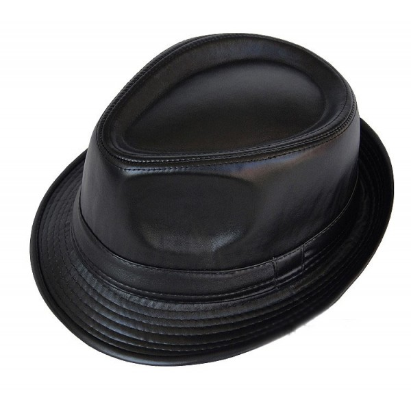 Black Faux Leather PU Punk Rock Funky Gothic Jazz Dance Dress Bowler Hat