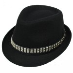 Black Square Studs Punk Rock Woolen Funky Gothic Jazz Dance Dress Bowler Hat