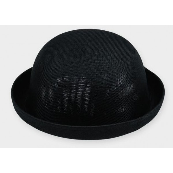 Black Summer Straw Round Head Rolled Brim Dance Jazz Bowler Hat Cap
