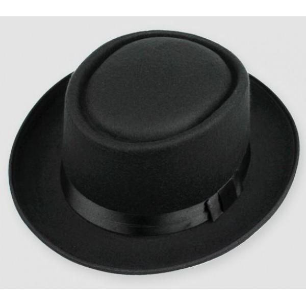 Black Woolen Black Satin Bow Classic MJ Funky Gothic Jazz Dance Dress Bowler Hat