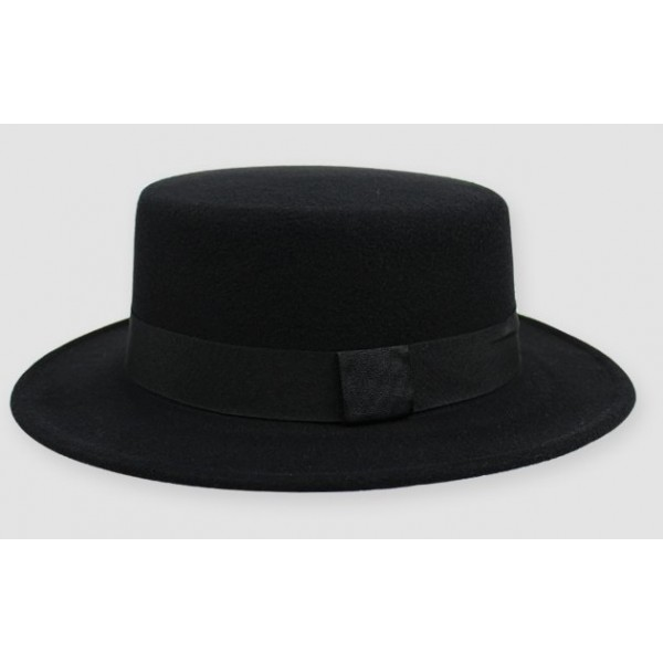 Black Woolen Black Satin Bow Classic MJ Jazz Dance Dress Bowler Hat