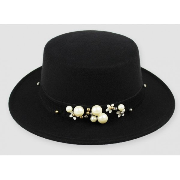 Black Woolen Pearls Classic Jazz Dance Dress Bowler Hat
