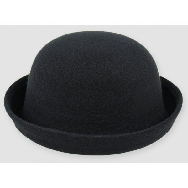 Black Woolen Round Head Rolled Brim Dance Jazz Bowler Hat Cap