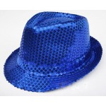 Blue Sequins Bling Bling Party Funky Gothic Jazz Dance Dress Bowler Hat