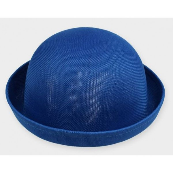 Blue Summer Straw Round Head Rolled Brim Dance Jazz Bowler Hat Cap
