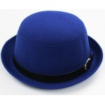 Blue Woolen Black Belt MJ Funky Gothic Jazz Dance Dress Bowler Hat