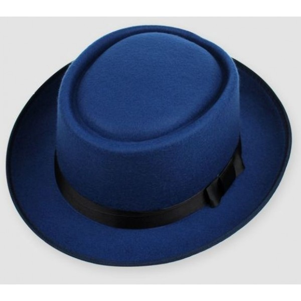 Blue Woolen Black Satin Bow Classic MJ Funky Gothic Jazz Dance Dress Bowler Hat