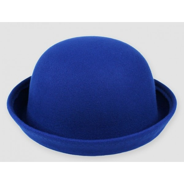 Blue Woolen Round Head Rolled Brim Dance Jazz Bowler Hat Cap