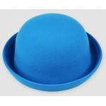 Blue Woolen Round Head Rolled Brim Jazz Dance Bowler Hat Cap