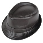 Brown Faux Leather PU Punk Rock Funky Gothic Jazz Dance Dress Bowler Hat