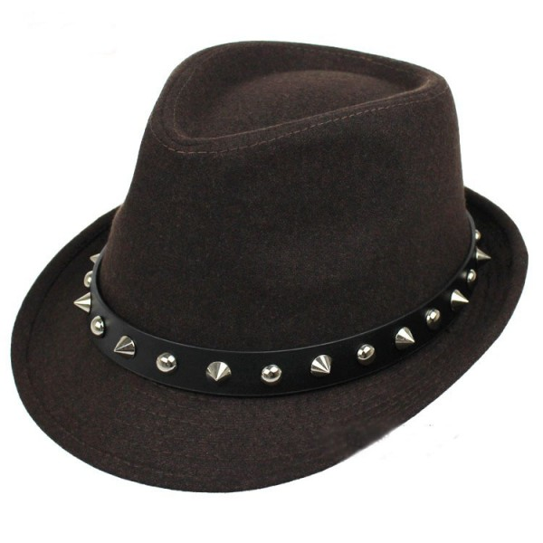 Brown Spikes Punk Rock Woolen Funky Gothic Jazz Dance Dress Bowler Hat