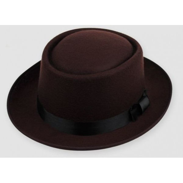 Brown Woolen Black Satin Bow Classic MJ Funky Gothic Jazz Dance Dress Bowler Hat
