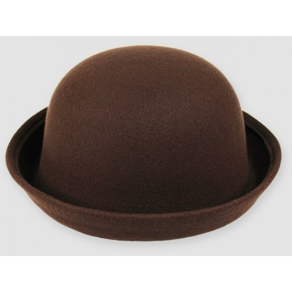 Brown Woolen Round Head Rolled Brim Jazz Dance Bowler Hat Cap