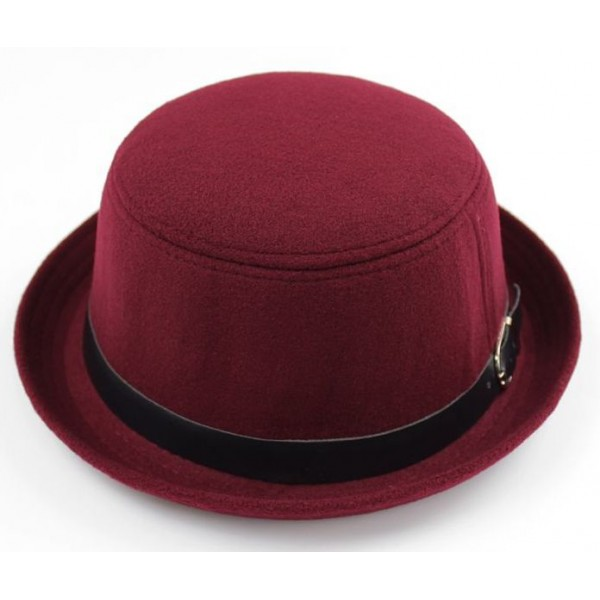 Burgundy Woolen Black Belt MJ Funky Gothic Jazz Dance Dress Bowler Hat