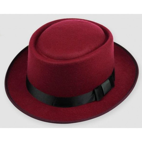 Burgundy Woolen Black Satin Bow Classic MJ Funky Gothic Jazz Dance Dress Bowler Hat