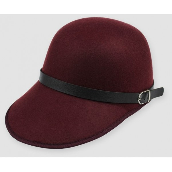 Burgundy Woolen Horse Riding Rider Polo Cap Hat