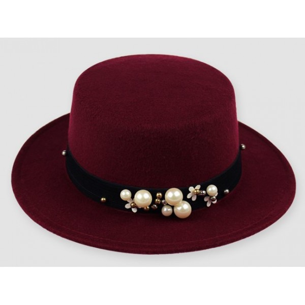 Burgundy Woolen Pearls Classic Jazz Dance Dress Bowler Hat