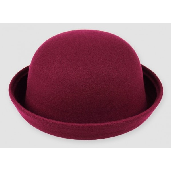 Burgundy Woolen Round Head Rolled Brim Dance Jazz Bowler Hat Cap