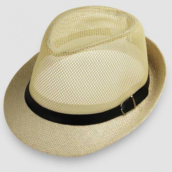 Cream Net Summer Straw Knitted Woven Jazz Dance Dress Bowler Hat