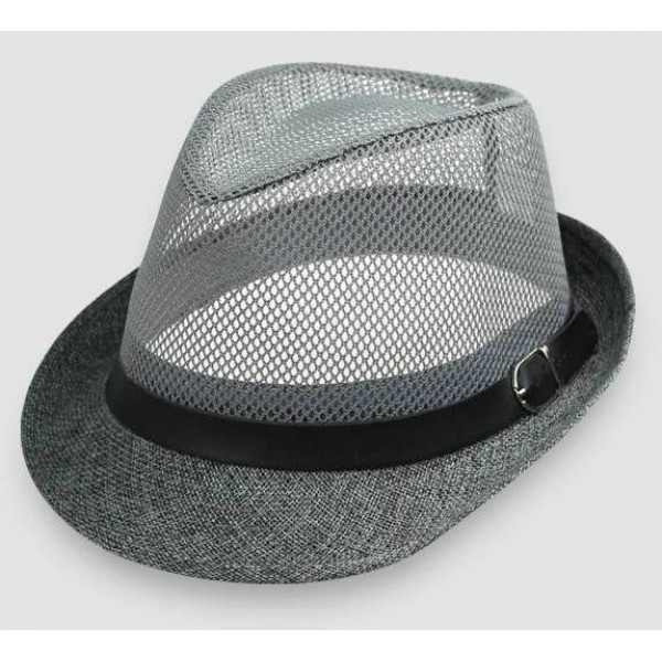 Grey Net Summer Straw Knitted Woven Jazz Dance Dress Bowler Hat