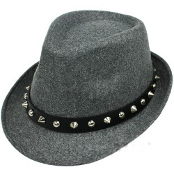 Grey Spikes Punk Rock Woolen Funky Gothic Jazz Dance Dress Bowler Hat