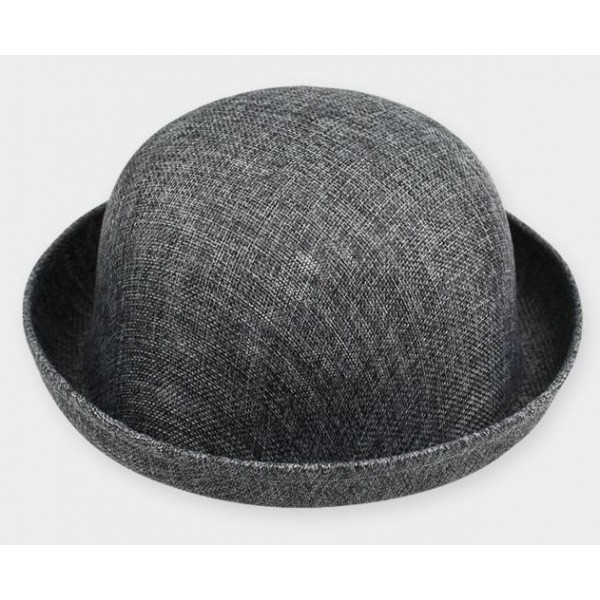 Grey Summer Straw Round Head Rolled Brim Dance Jazz Bowler Hat Cap