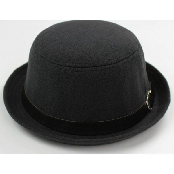 Grey Woolen Black Belt MJ Funky Gothic Jazz Dance Dress Bowler Hat