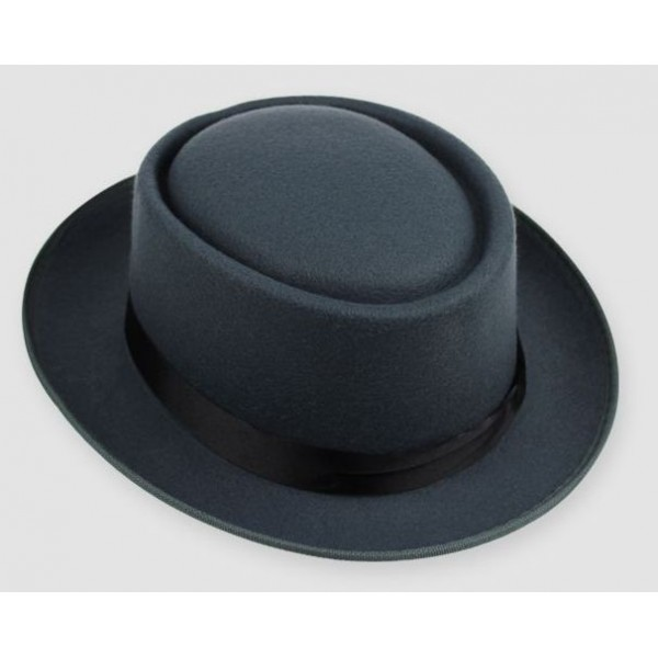 Grey Woolen Black Satin Bow Classic MJ Funky Gothic Jazz Dance Dress Bowler Hat