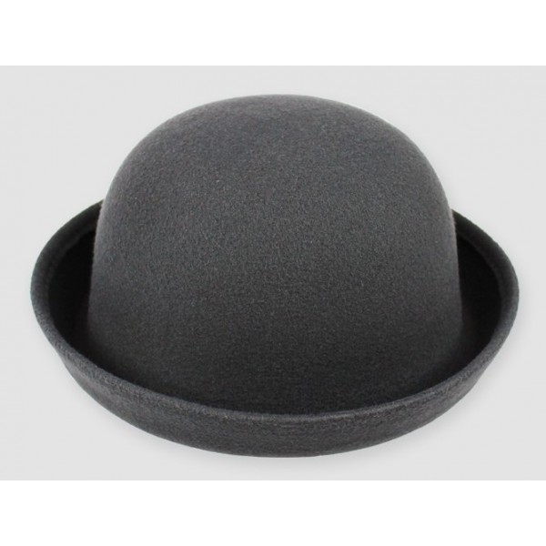 Grey Woolen Round Head Rolled Brim Dance Jazz Bowler Hat Cap