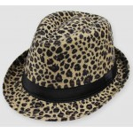 Khaki Leopard Cheetah Wild Animal Funky Gothic Jazz Dance Dress Bowler Hat