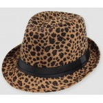 Khaki Leopard Cheetah Wild Animal Funky Jazz Dance Dress Bowler Hat