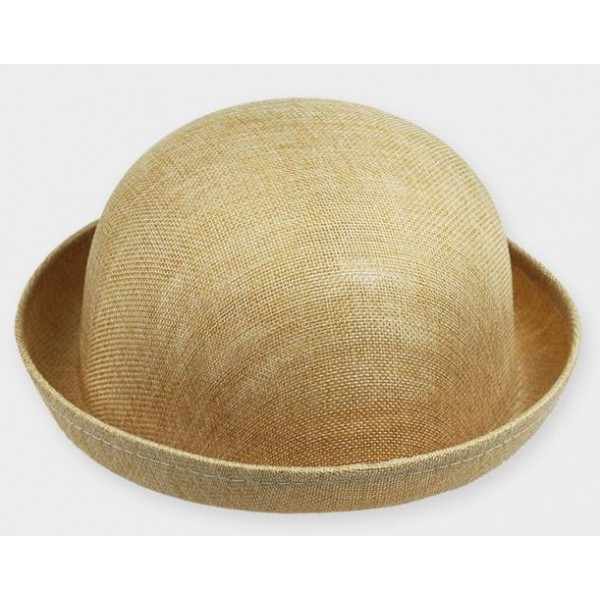 Khaki Summer Straw Round Head Rolled Brim Dance Jazz Bowler Hat Cap