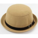 Khaki Woolen Black Belt MJ Funky Gothic Jazz Dance Dress Bowler Hat
