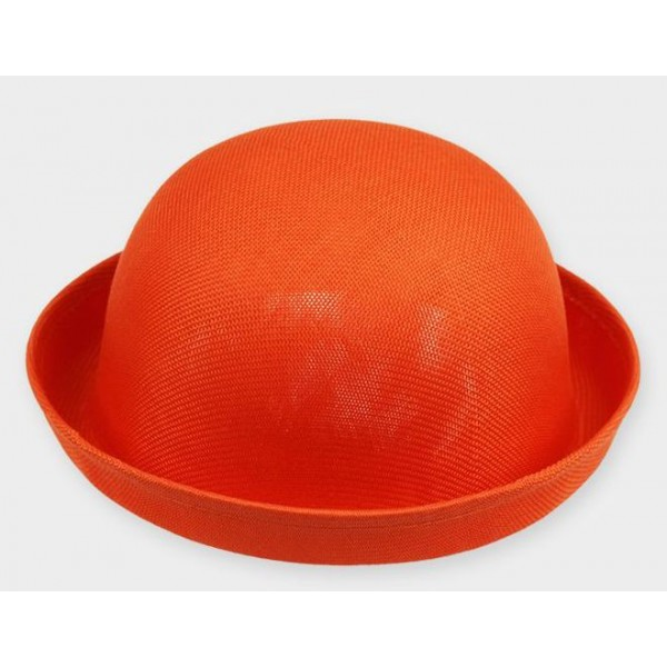 Orange Summer Straw Round Head Rolled Brim Dance Jazz Bowler Hat Cap
