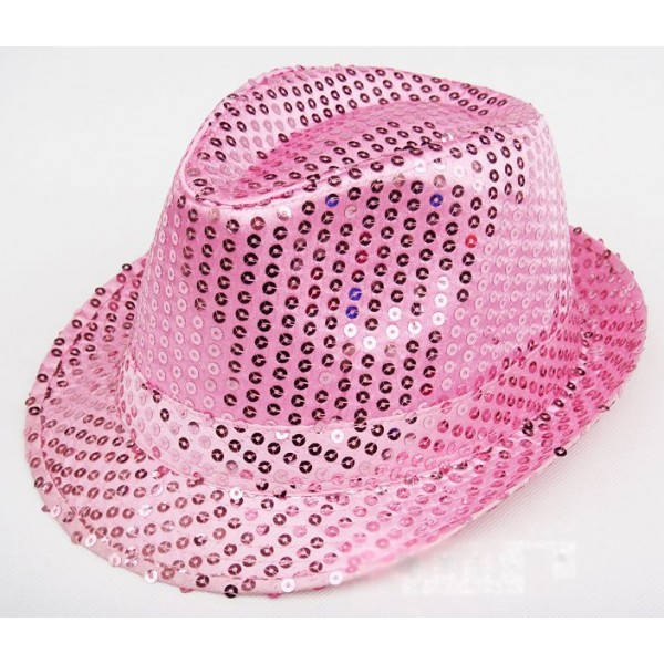 Pink Sequins Bling Bling Party Funky Gothic Jazz Dance Dress Bowler Hat