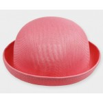 Pink Summer Straw Round Head Rolled Brim Dance Jazz Bowler Hat Cap