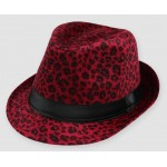 Red Leopard Cheetah Wild Animal Funky Gothic Jazz Dance Dress Bowler Hat