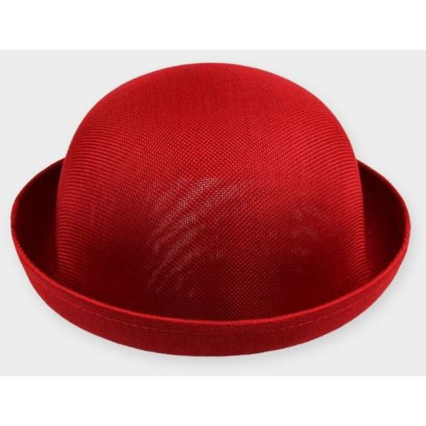 Red Summer Straw Round Head Rolled Brim Dance Jazz Bowler Hat Cap