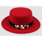 Red Woolen Pearls Classic Jazz Dance Dress Bowler Hat