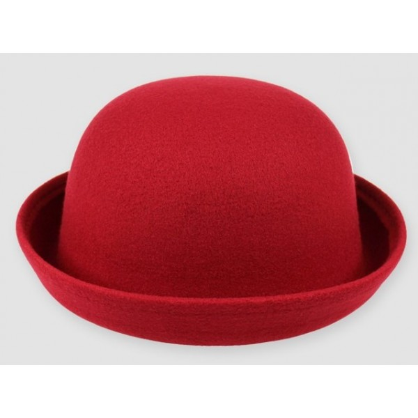 Red Woolen Round Head Rolled Brim Dance Jazz Bowler Hat Cap