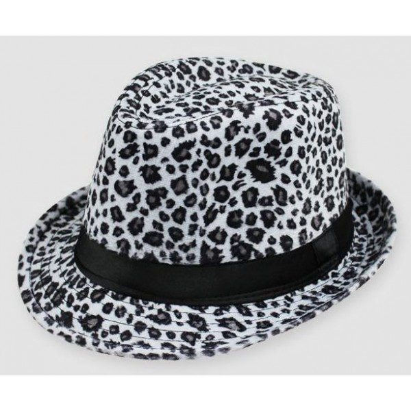 White Leopard Cheetah Wild Animal Funky Gothic Jazz Dance Dress Bowler Hat