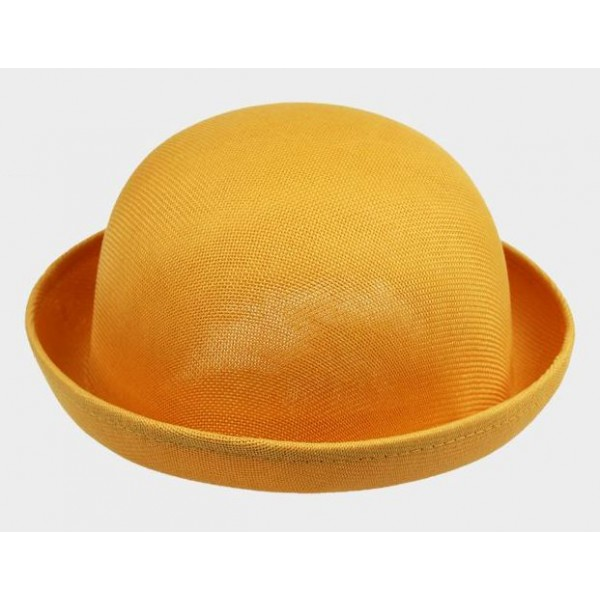 Yellow Summer Straw Round Head Rolled Brim Dance Jazz Bowler Hat Cap