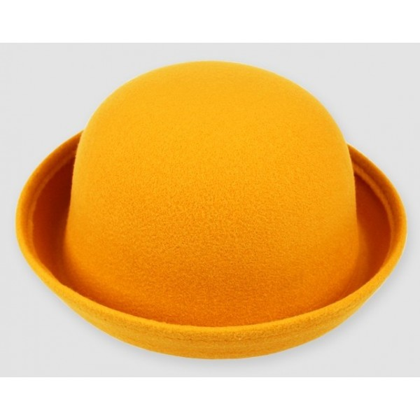 Yellow Woolen Round Head Rolled Brim Jazz Dance Bowler Hat Cap