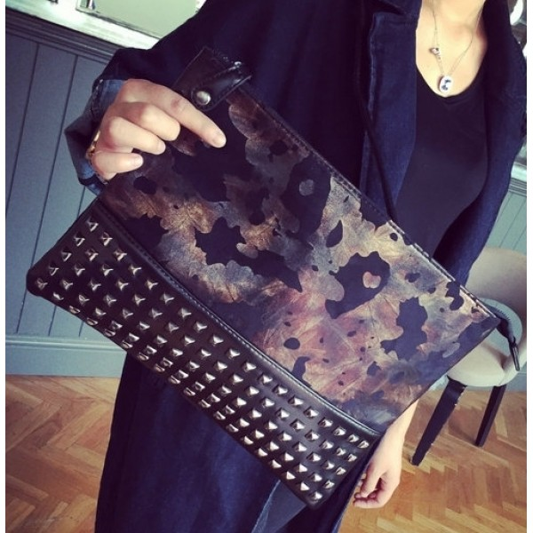 Black Vintage Square Spikes Studs Punk Rock Gothic Oversized Envelope Clutch Bag Purse