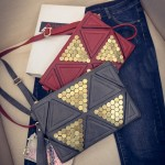 Black Grey Red Geometric Studs Oversized Envelope Clutch Bag Purse